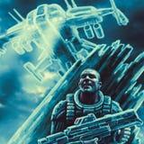 Couros crus do soldado do espaço do navio inimigo ilustração stock