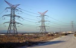Courrier à haute tension Polonais électriques de puissance Images libres de droits