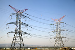 Courrier à haute tension Polonais électriques de puissance Photos libres de droits