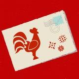 Courrier à Santa avec le coq Photo stock
