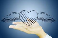 Courrier de main et d'amour Photographie stock libre de droits