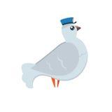 Courrier de pigeon de bande dessinée avec le chapeau bleu du ` s de facteur avec les ailes ouvertes dans la mouche Photo libre de droits