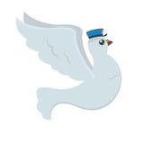 Courrier de pigeon de bande dessinée avec le chapeau bleu du ` s de facteur avec les ailes ouvertes dans la mouche Photo stock