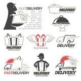 Courrier de service de distribution, icônes en ligne exprès de vecteur de boutique de nourriture réglées Photo stock
