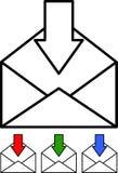 - Courrier entrant - vecteur réglé par icône Images libres de droits