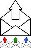 - Courrier sortant - vecteur réglé par icône Image stock