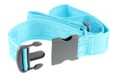 Courroie bleue réglable de bagage de course Photographie stock libre de droits
