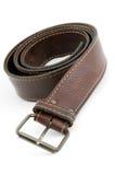 Courroie en cuir de Brown avec la courroie-boucle en métal Photos stock