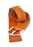 Courroie en cuir de Wattled avec la boucle en métal Photo libre de droits