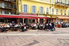 Cours的Saleya列斯Ponchettes餐馆,尼斯 库存图片
