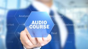 Cours audio, homme travaillant à l'interface olographe, écran visuel Images stock