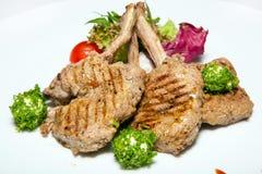 Cours d'apéritifs, de salades, premier et deuxième, soupe Photo stock