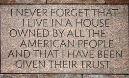 Cours dans le mémorial de Franklin Delano Roosevelt Photos libres de droits