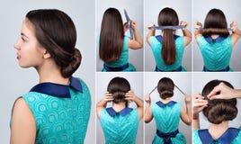 Cours de cheveux Coiffure pour de longs cheveux avec le tuto d'accessoire de torsion Image stock