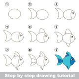 Cours de dessin Comment dessiner un poisson mignon illustration de vecteur
