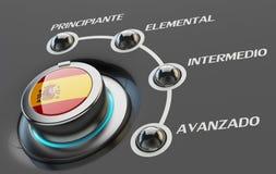 Cours de langues espagnoles, étude et concept d'éducation Images libres de droits