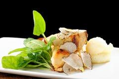 Cours dinant fin de courrier, blanc de poulet grillé Photo stock