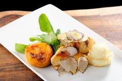 Cours dinant fin de courrier, blanc de poulet grillé Photos stock