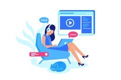 Cours en ligne, apprentissage en ligne, leçon de écoute illustration libre de droits