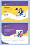 Cours en ligne Web d'atterrissage apprenant le site d'affaires de vecteur de consultant en matière de distance d'Internet d'unive illustration stock
