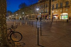The Cours Mirabeau at night. AIX-EN-PROVENCE, FRANCE, April 6, 2018 : The Cours Mirabeau in Aix-en-Provence at night Stock Images