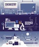 Cours plats de vecteur horizontal de bannière de la physique, chimie, biologie scientifique Ardoise, formule chimique, voltmètre photos stock