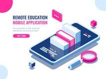 Cours sur l'application de téléphone portable, éducation en ligne, cours d'Internet, données recherchant, bande dessinée d'ebook  illustration libre de droits