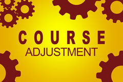 Course Adjustment navigation concept. COURSE ADJUSTMENT sign concept illustration with red gear wheel figures on yellow background Stock Images
