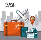 Course autour du monde international de carte de goupille de passeport de billet d'avion Photographie stock