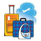 Course d'aéroport de sac de valise de bagage Photographie stock libre de droits