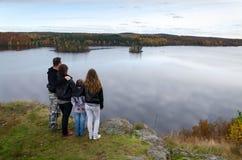 Course d'automne de famille Photographie stock libre de droits