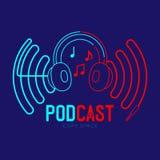 Course d'ensemble d'icône de logo d'écouteur avec la note de musique dans la ligne de tiret de cadre de vague de câble, concept e illustration libre de droits