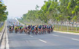 Course de bicyclette traditionnelle pour faire bon accueil à la nouvelle année 2015 Photos stock