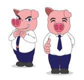 Course de Cartoon Vector Illustration d'homme d'affaires de porc Photos stock