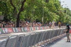 Course de chevaux de rue à Madrid Images stock