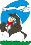 Course de chevaux et jockey illustration de vecteur