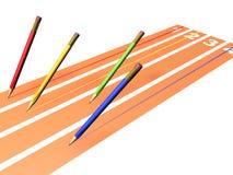 Course de crayons illustration stock