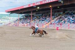 Course de femme et de cheval par l'arène au baril emballant la concurrence Photos stock