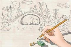 Course de lapins de dessin pour sauver l'ours Images libres de droits