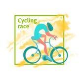 Course de recyclage, calibre d'affiche Un homme monte une bicyclette, tache abstraite d'aquarelle sur le fond Illustration de vec illustration libre de droits