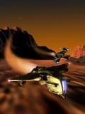 Course de vaisseaux spatiaux sur la planète Mars illustration libre de droits