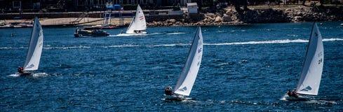 Course de voilier d'été à la pointe de flèche de lac, la Californie photo libre de droits