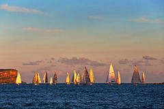 Course de yacht d'or d'heure Photos stock