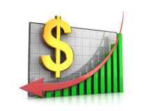 Course dollar decline. Course decline: graph with dollar sign and arrow down Royalty Free Stock Image