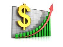 Course dollar increase. Course increase: graph with dollar sign and arrow up Royalty Free Stock Photos