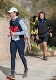 Course dure de montagne de marathon, route photos libres de droits