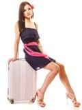 Course et vacances Femme avec le sac de bagage de valise Image stock
