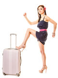 Course et vacances Femme avec le sac de bagage de valise Photo libre de droits