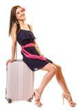 Course et vacances Femme avec le sac de bagage de valise Photos stock