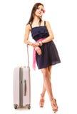 Course et vacances Femme avec le sac de bagage de valise Photo stock